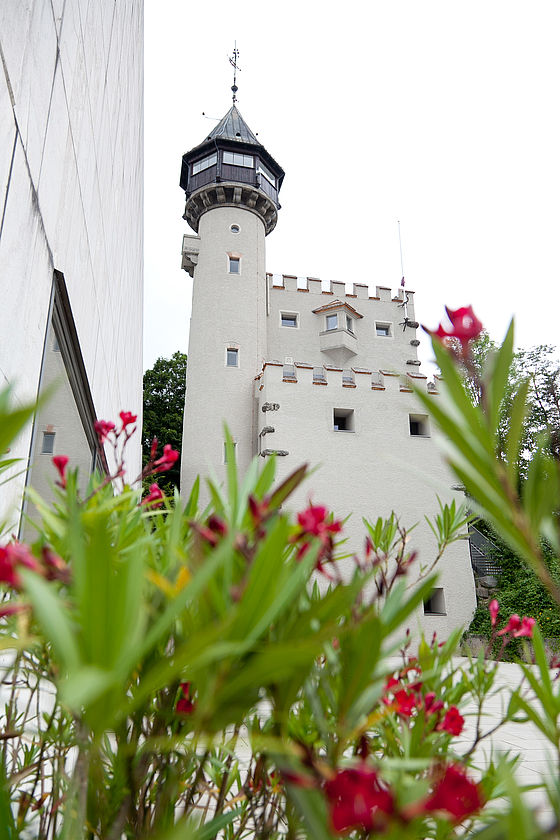 Exterior view of the former Watertower, now Amalie-Redlich-Turm, taken from the terrace of the Museum der Moderne Salzburg.